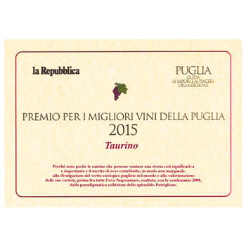 award for the best wines of Puglia 2015 competition